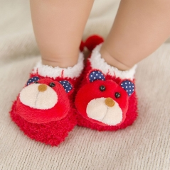 RONI Silicone Anti-Slip coral velvet cartoon embroidery thickened warm socks baby floor socks 01 M(6-18M)