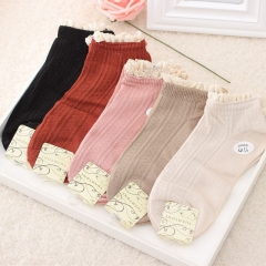 RONI 5 Pairs of Spring and Autumn new lovely lace cotton ladies socks Random all code