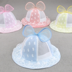 RONI Summer new baby girl sun protection cap cute big bow lace net cap blue all code