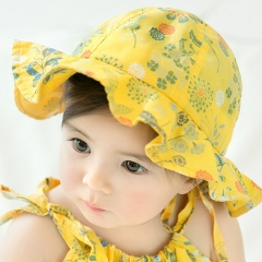 RONI Summer new baby girl sweet print 100% cotton hat 01 all code
