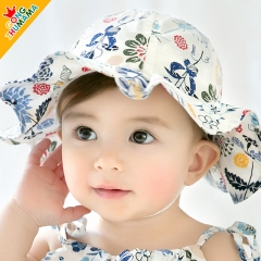 RONI Summer new baby girl sweet print 100% cotton hat 02 all code