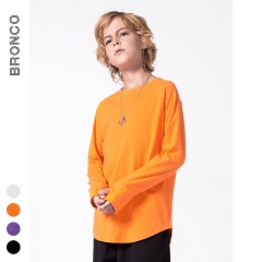 RONI 2018 Autumn New Boy 100% Cotton Pure Color Leisure T-shirt Kids Long Sleeve Tops 01 100cm 100% cotton