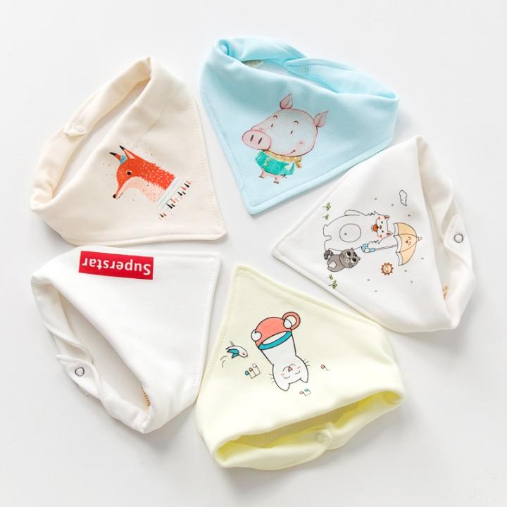 RONI 5pcs baby 100% cotton triangle saliva towel baby bib newborn children turban 09 all code