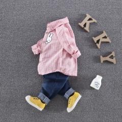 RONI  Baby boy 100% cotton clothes suit girl kids striped shirt + pants  two-piece set 01 80/s