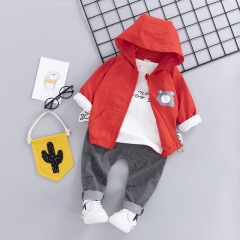 RONI Baby 100% Cotton Clothes Suit Boy  Jacket + T- Shirt + Trousers Three-piece Set Kids Clothing 01 80/s