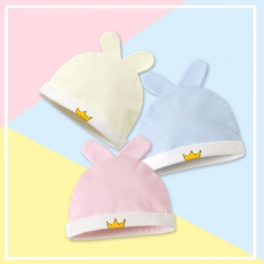 RONI 3 PCS baby Crown Printed Animal Ear hats 0-9 Months old baby 100% Cotton Hats 01 all code