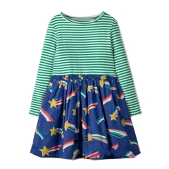 RONI Autumn and winter girls striped long-sleeved 100% cotton skirt the picture color 18-24