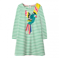 RONI Autumn and winter girl striped Cloth bird long-sleeved 100%  cotton skirt the picture color 18M