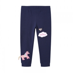 RONI Autumn New Girl 100% Cotton Pink Horse Embroidery Pants 01 2t
