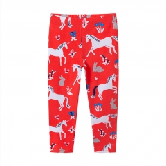 RONI 2018 Autumn new girl 100% cotton pony flower printed  pants 01 2t