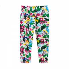 RONI Autumn new girl 100% cotton  flower and bird print  pants 01 2t