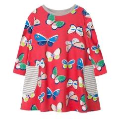 RONI 2018 Autumn new girl 100% cotton butterfly print dress 01 18-24