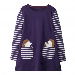 RONI 2018  Autumn New Girl Cotton Cloth Hedgehog Striped Dress 01 18-24M