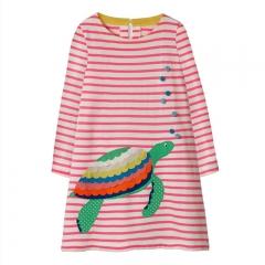 RONI 2018 Autumn New Girl 100% Cotton Cloth Turtle Stripe Dress 01 18-24M