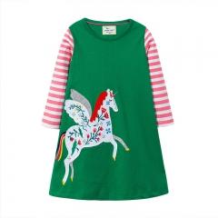 RONI Autumn New Girl 100%  Cotton Cloth Art Unicorn long-sleeved Dress 01 18-24m