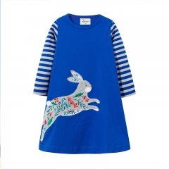 RONI Autumn new girl 100% cotton rabbit embroidery long-sleeved dress 01 18-24m