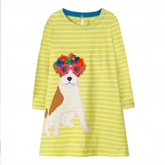 RONI Autumn New Girl 100% Cotton Cloth Puppy Long Sleeved Striped Dress 01 18-24m
