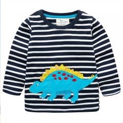 RONI Autumn New Boy 100% Cotton Dinosaur Embroidery Long Sleeved Striped T-shirt 01 2t 100% cotton