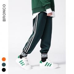 RONI 2018 Autumn new boy  three-bar side woven sweatpants kids casual pants 01 110cm