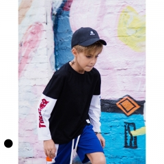 RONI 2018 Autumn new 100% cotton long-sleeve sports T-shirt for boys aged 3-14 01 110cm 100% cotton