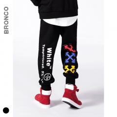 RONI 2018 Autumn new boy  fashion sweatpants kids letter printed trousers 01 110cm