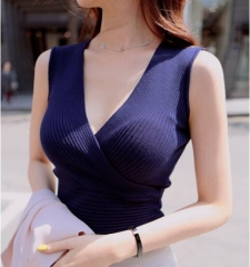 RONI 2018 New  Women  Sleeveless Sexy Knitted Vest Lady Casual Clothes 01 all code