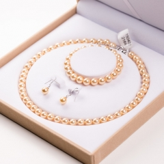 RONI Natural shell bead jewelry set  necklacewith bracelet and earrings three-piece set 01 Containing box