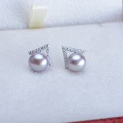 RONI Korean fashion Natural Pearl ear nail triangular ear nail 925 pure silver ear nail purple all code