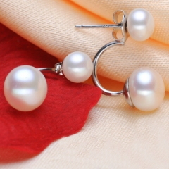 RONI Natural freshwater Pearl ear nail s925 sterling silver ear nail, double Pearl ear nail 01 all code