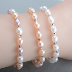 RONI  6-7mm Natural Freshwater Pearl Bracelet Mixed Color Bracelet white all code