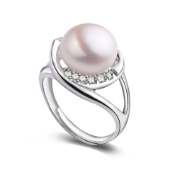 RONI 10-11 mm Double rows Drill S925 Pure Silver Ring Natural Freshwater Pearl Ring Wedding Ring 01 all code