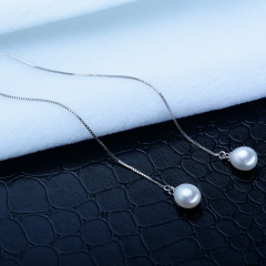 RONI Natural pearl earrings Korean version long s925 pure silver temperament ear nail 01 all code