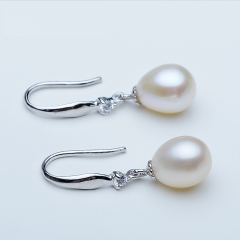 RONI Natural freshwater Pearl ear ring water drop Pearl ear nail S925 pure silver ear nail 01 all code