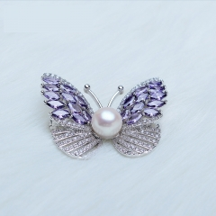 RONI Freshwater Pearl brooch purple butterfly zirconite brooch 01 all code