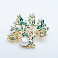RONI High-grade color zirconium brooch natural Pearl fortune tree brooch coat suit accessories 01 all code
