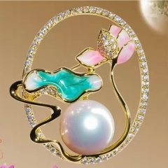 RONI 12-13mm Natural freshwater Pearl Lotus pond moonlight brooch 01 all code