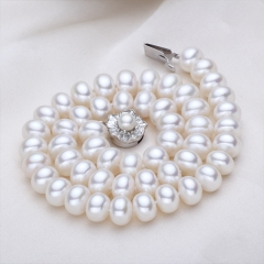 RONI Luxury Pearl Necklace Natural Freshwater Pearl Necklace Almost Flawless 01 8-9mm