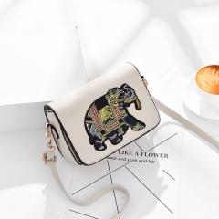 RONI 2018  New Lady  Elephant Embroidery Square bags Women Leisure Fashion Single Shoulder handbag 01 all code