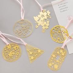 RONI 5pcs Chinese style hollow bookmark creative metal compact mini brass bookmark random all code