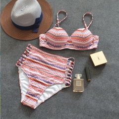 RONI 2018 Women new split swimsuit Lady  sexy  high waist stripes printed bikini 01 s