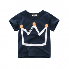 RONI Summer  baby  Boy 100% Cotton T-shirt Kids Crown Printed T-shirt Clothes 01 90cm 100% cotton
