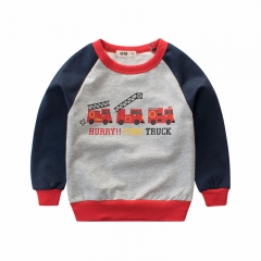RONI  Autumn baby old boy 100% cotton T-shirt  children  round collar car print jacket kids clothes 01 90