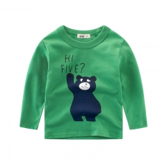 RONI Spring baby boy 100% cotton long-sleeve T-shirt children bear round collar shirt kids clothes 01 90cm 100% cotton