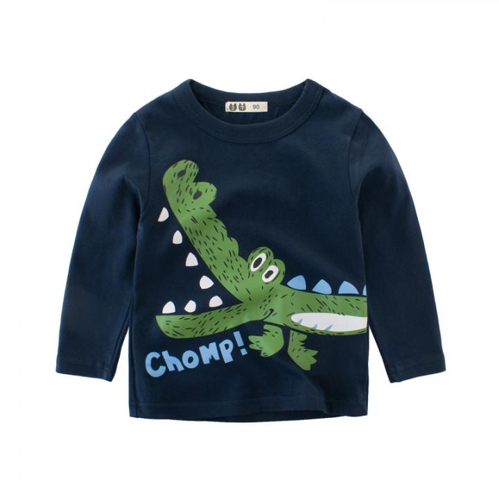 RONI Fall baby boy 100% cotton long-sleeve T-shirt  children cartoon crocodile top kids clothes 01 90cm 100% cotton