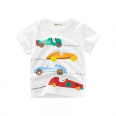 RONI Summer boy 100% cotton short-sleeved T-shirt children cartoon car round collar top kids clothes 01 90cm 100% cotton