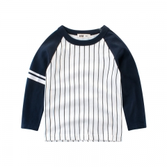RONI Spring baby boy 100% cotton long-sleeved T-shirt children round collar striped top kids clothes 01 90cm 100% cotton