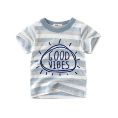 RONI Summer baby boy 100% cotton short-sleeved T-shirt children  striped thin top kids clothes 01 90cm 100% cotton