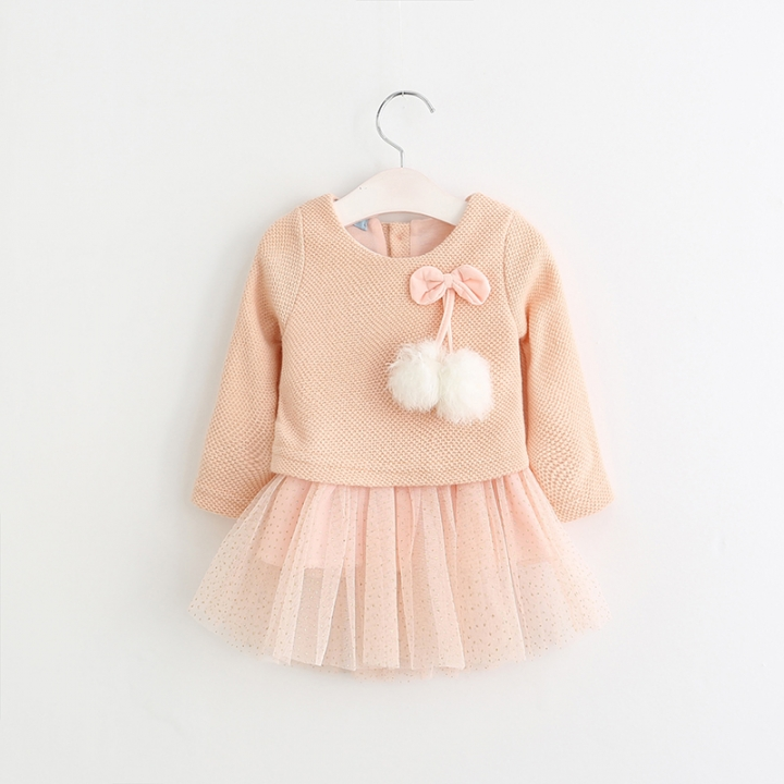 RONI Fall baby girl long-sleeve knitted gauze dress girl princess dress kids clothing 01 70cm