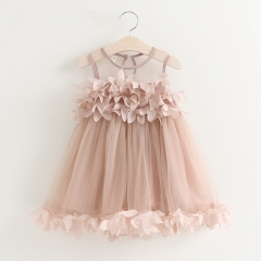 RONI Summer baby girl princess skirt sweet lace vest dress party clothing kids clothing 01 90cm/2T