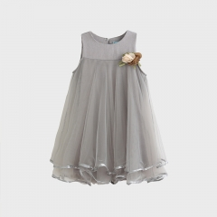 RONI Baby  girl princess dress  kids sweet lace vest dress birthday party clothing 01 100cm/3t